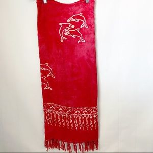 Other - Red Tye Dye Boho Dolphin Fringed Sarong Cover Up